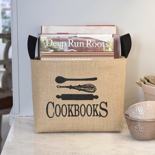 Cookbooks Burlap Storage Basket