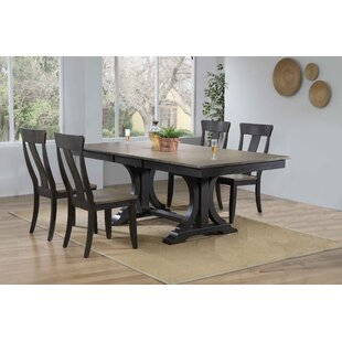 Georges Double Pedestal Deco Panel Back 5-Piece Solid Wood Dining Set Gracie Oaks