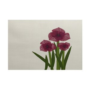 Amanda Amaryllis Floral Print Burgundy/Green Indoor/Outdoor Area Rug