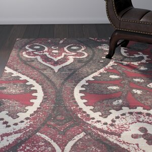Joshawn Hand-Loomed Black/Red Area Rug