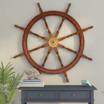 Beachcrest Home 48 Wood And Brass Decorative Ship Wheel