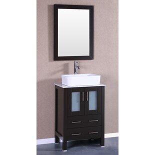 Comparison Lombardi 24 Single Bathroom Vanity Set with Mirror ByBreakwater Bay