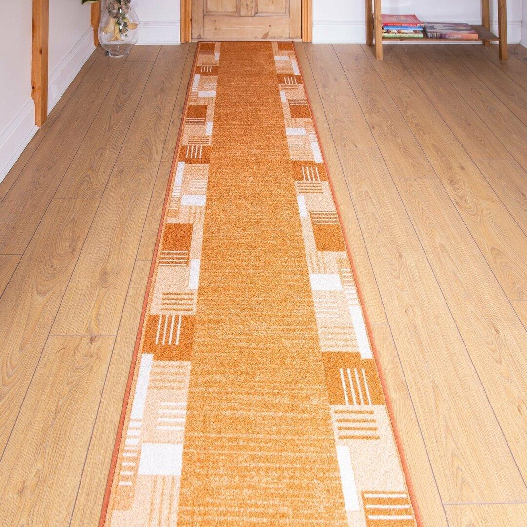 Bale Looped/Hooked Terracotta Hallway Runner Rug
