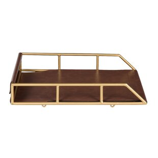 Greyleigh Holtman Stacked Metal and Faux Leather Letter Trays