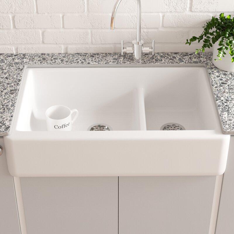 K 6427 0 7 Fd Kohler Whitehaven Smart Divide 36 L X 22 W Farmhouse Double Bowl Kitchen Sink With Tall Apron Reviews Wayfair