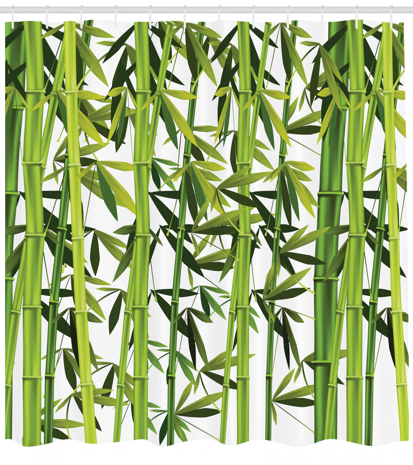 Asian Shower Curtain Bamboo Stems and Blooms Print for Bathroom