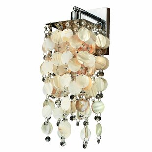 Cohen-Arazi Oyster Shell and Crystal 1-Light Armed Sconce by Everly Quinn