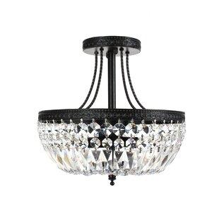 Mckeever Crystal Basket 3-Light Semi Flush Mount