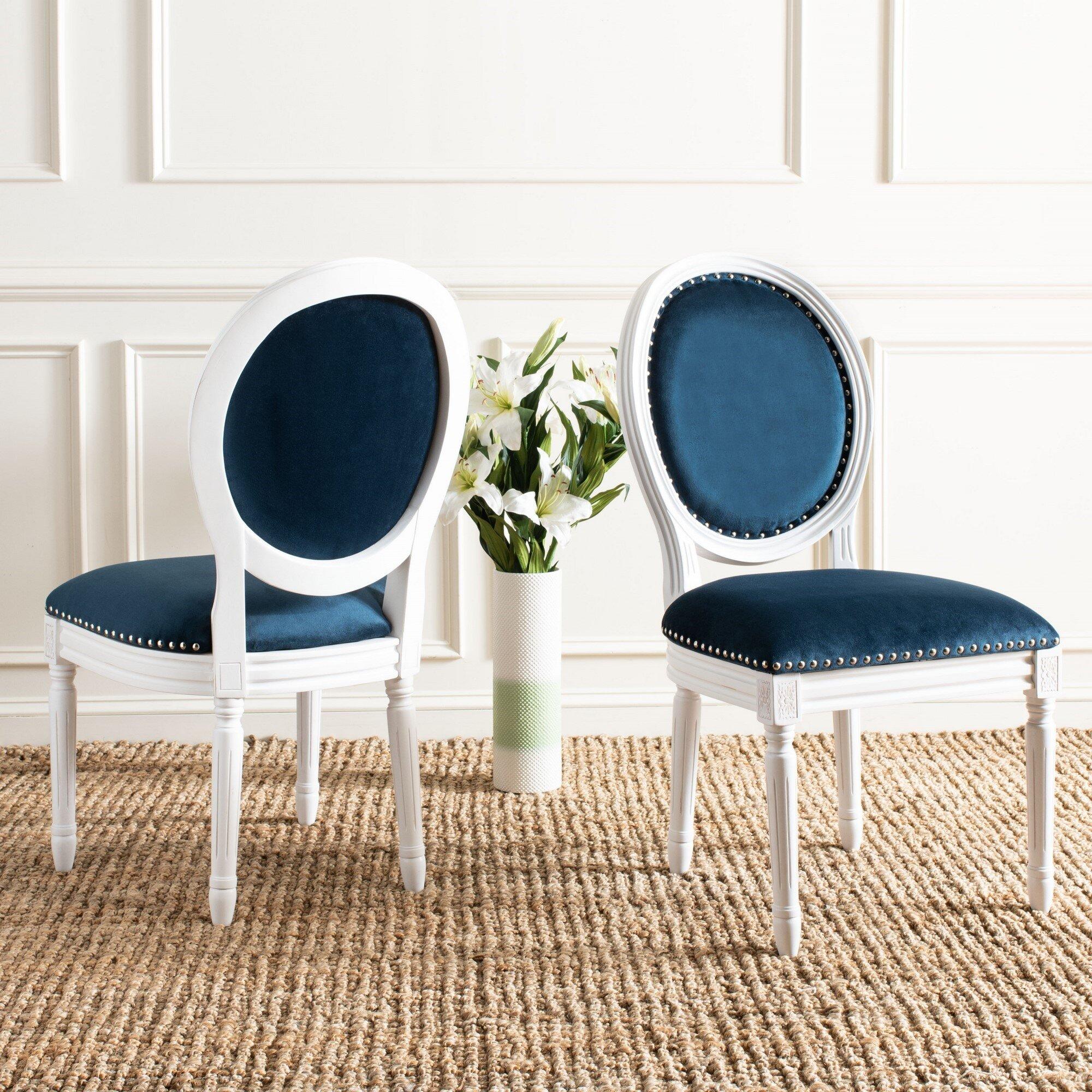 Birch Lane Falgoust Velvet Upholstered King Louis Back Side Chair Reviews Wayfair