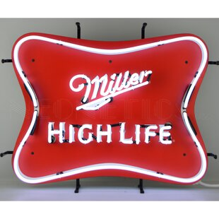 Bar marquee letter lights youll love wayfair miller high life beer neon wall light aloadofball Images