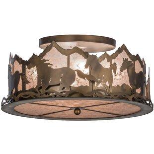 Meyda Tiffany Wild Horses 4-Light Semi Flush Mount