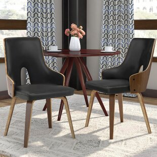Lewandowski Upholstered Dining Chair in Black (Set of 2)