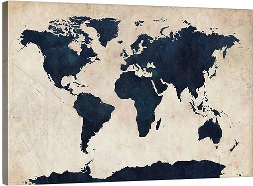 'World Maps' Gallery Graphic Art Print on Wrapped Canvas on earth map canvas, old world map canvas, map wall art, ikea world map canvas, united states map canvas,