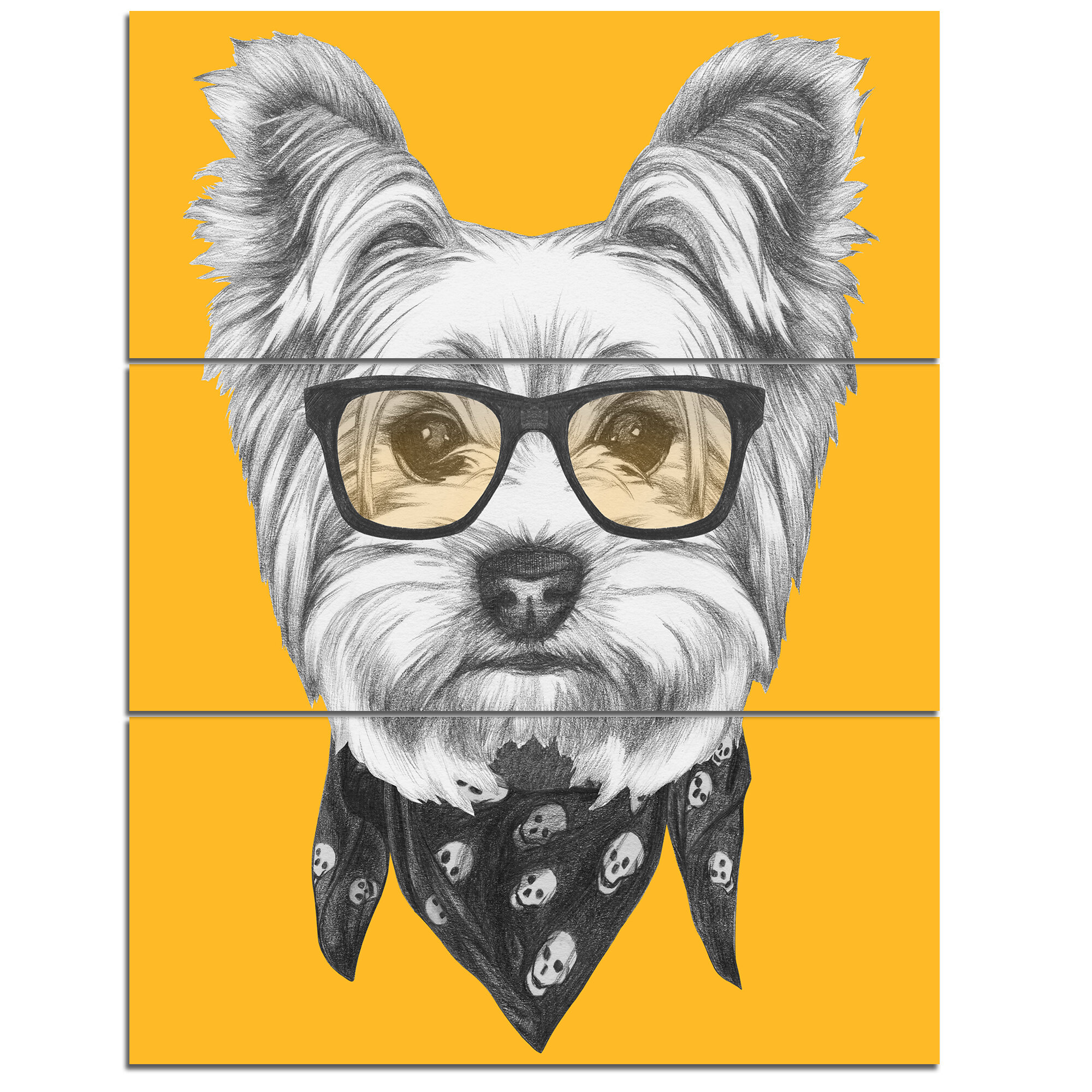DesignArt \'Funny Terrier Dog with Glasses\' 3 Piece Wall Art on ...