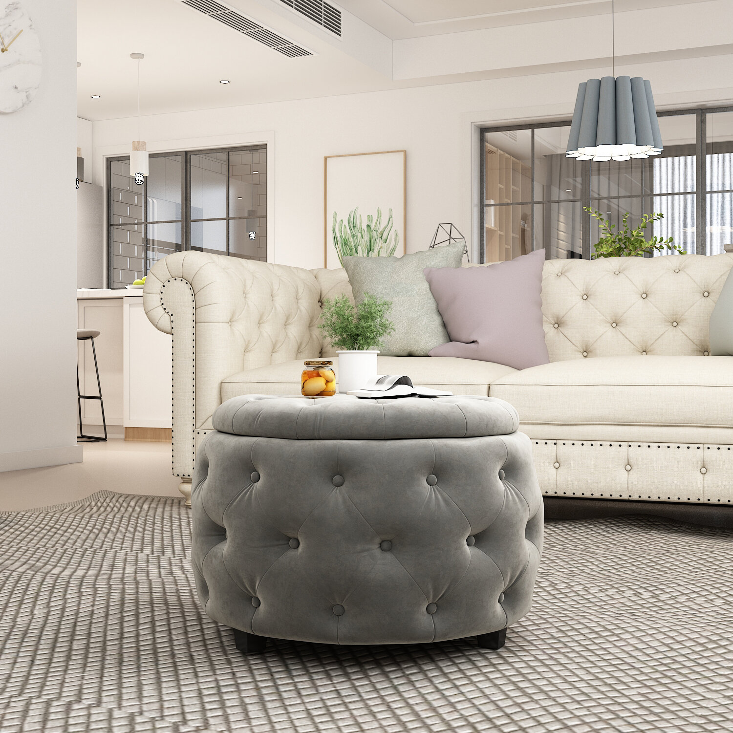 Outstanding Sylvester Round Tufted Storage Ottoman Ncnpc Chair Design For Home Ncnpcorg