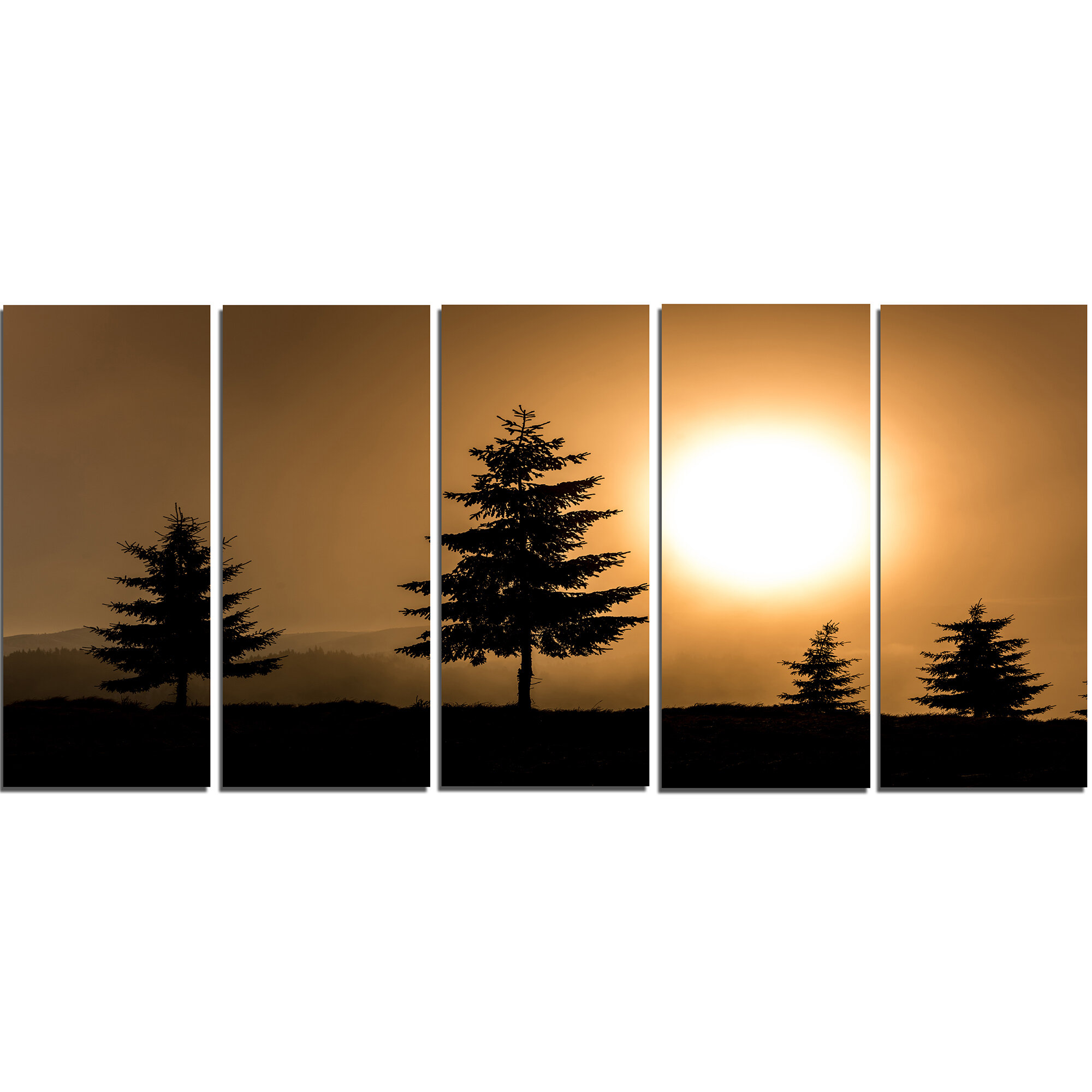 Designart Bright Sunrise Tree Silhouette 5 Piece Wall Art On Wrapped Canvas Set Wayfair