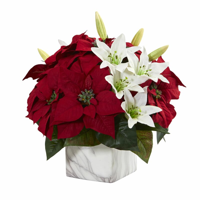 Wrought Studio Poinsettia And Lily Floral Arrangement In Vase Wayfair