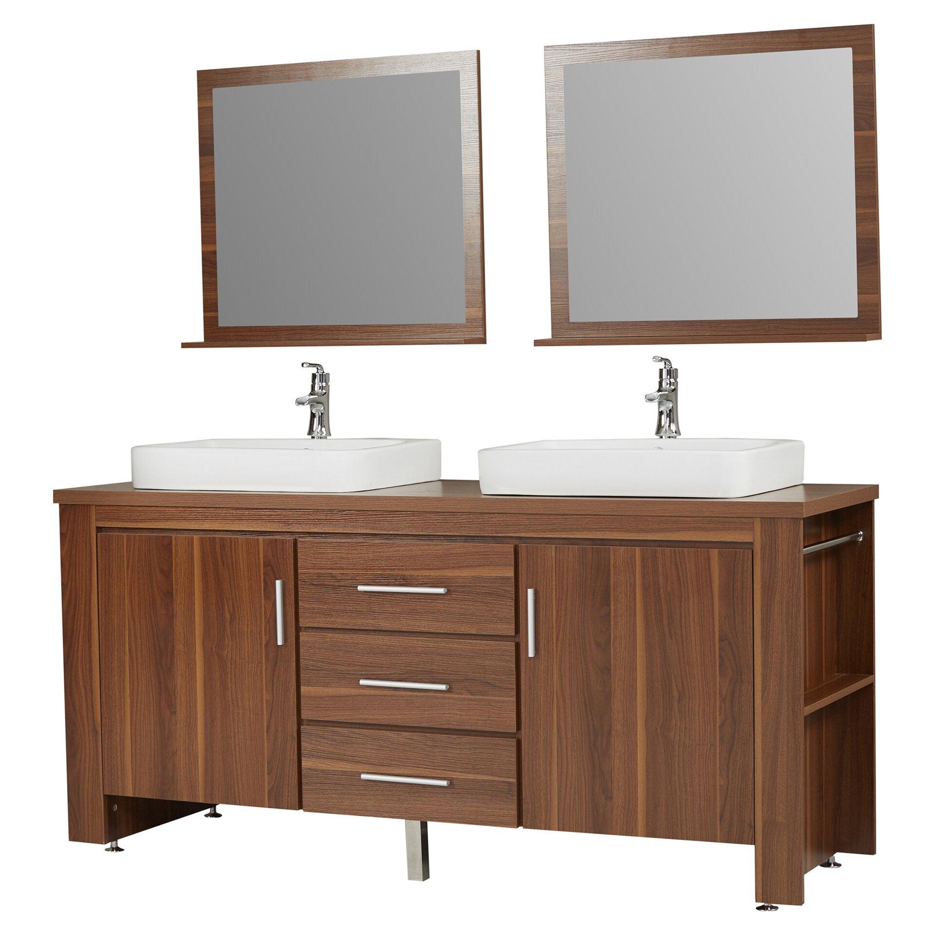 Wade logan parsons 72 double bathroom vanity set with for Bathroom mirror set