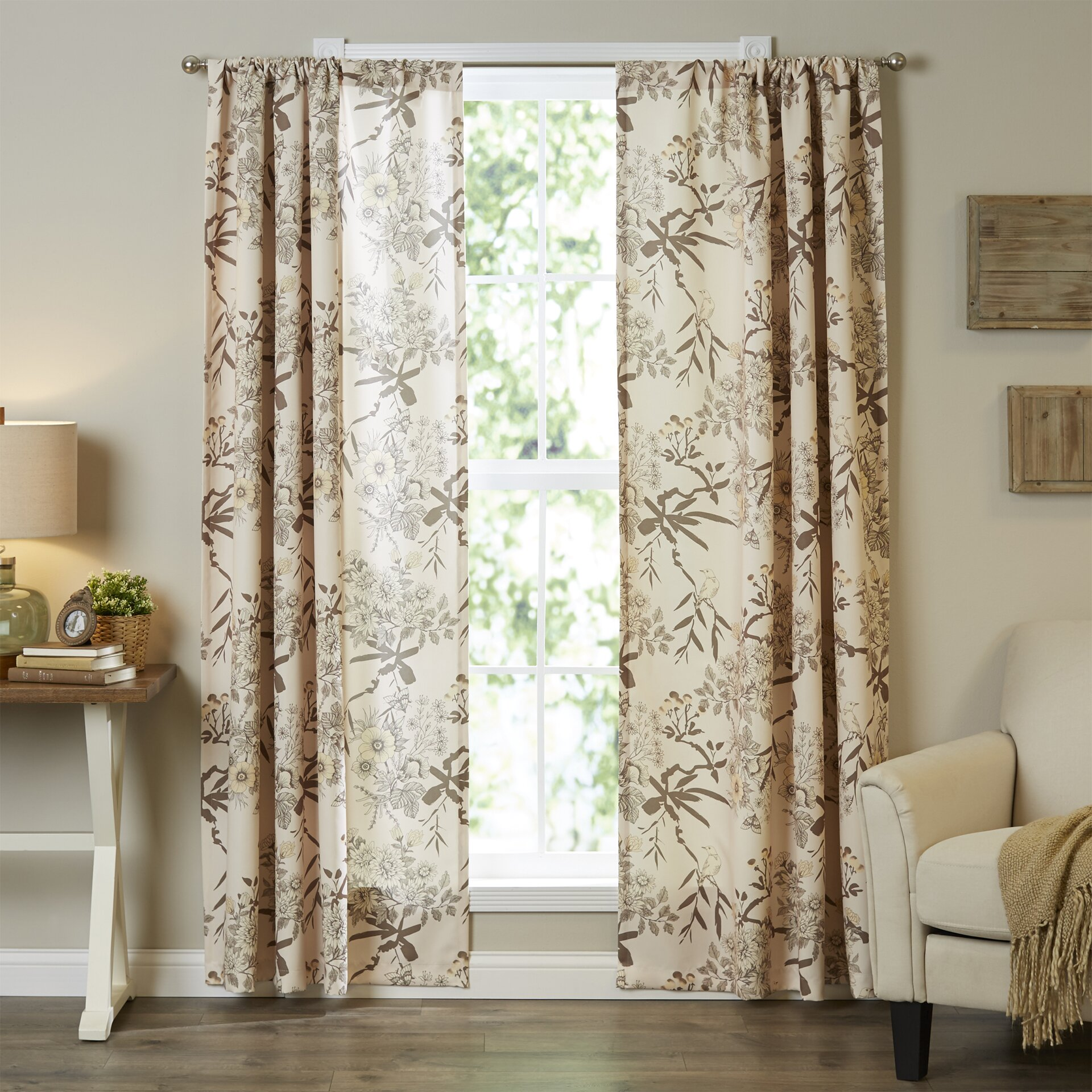 Pinch Pleated Thermal Insulated Drapes: Red Barrel Studio Myers Nature/Floral Blackout Thermal