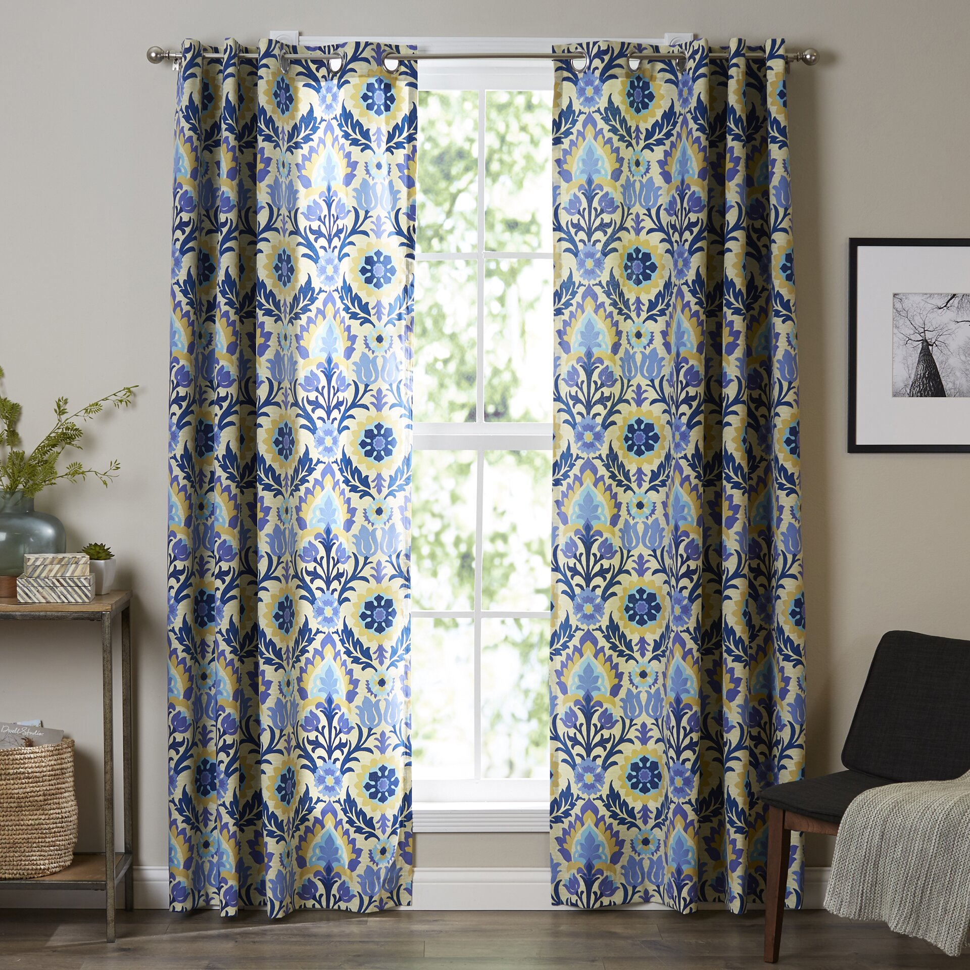 Waverly Sun-N-Shade Damask Semi-Sheer Single Curtain Panel
