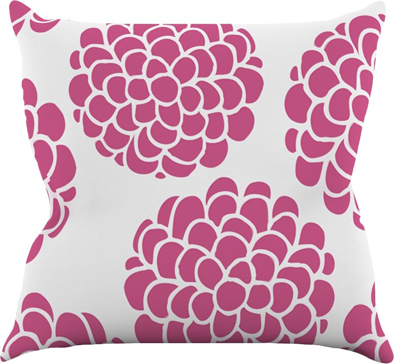 Raspberry Blossoms by Pom Graphic Throw Pillow