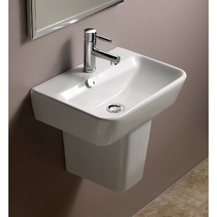 Best Emma Vitreous China 20 Semi Pedestal Bathroom Sink with Overflow By Bissonnet