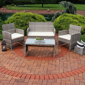 Fanchone 4 Piece Rattan Seating Group with Cushions