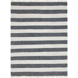 Best Price Riojas Hand-Knotted Cotton Gray/Off White Area Rug By Breakwater Bay
