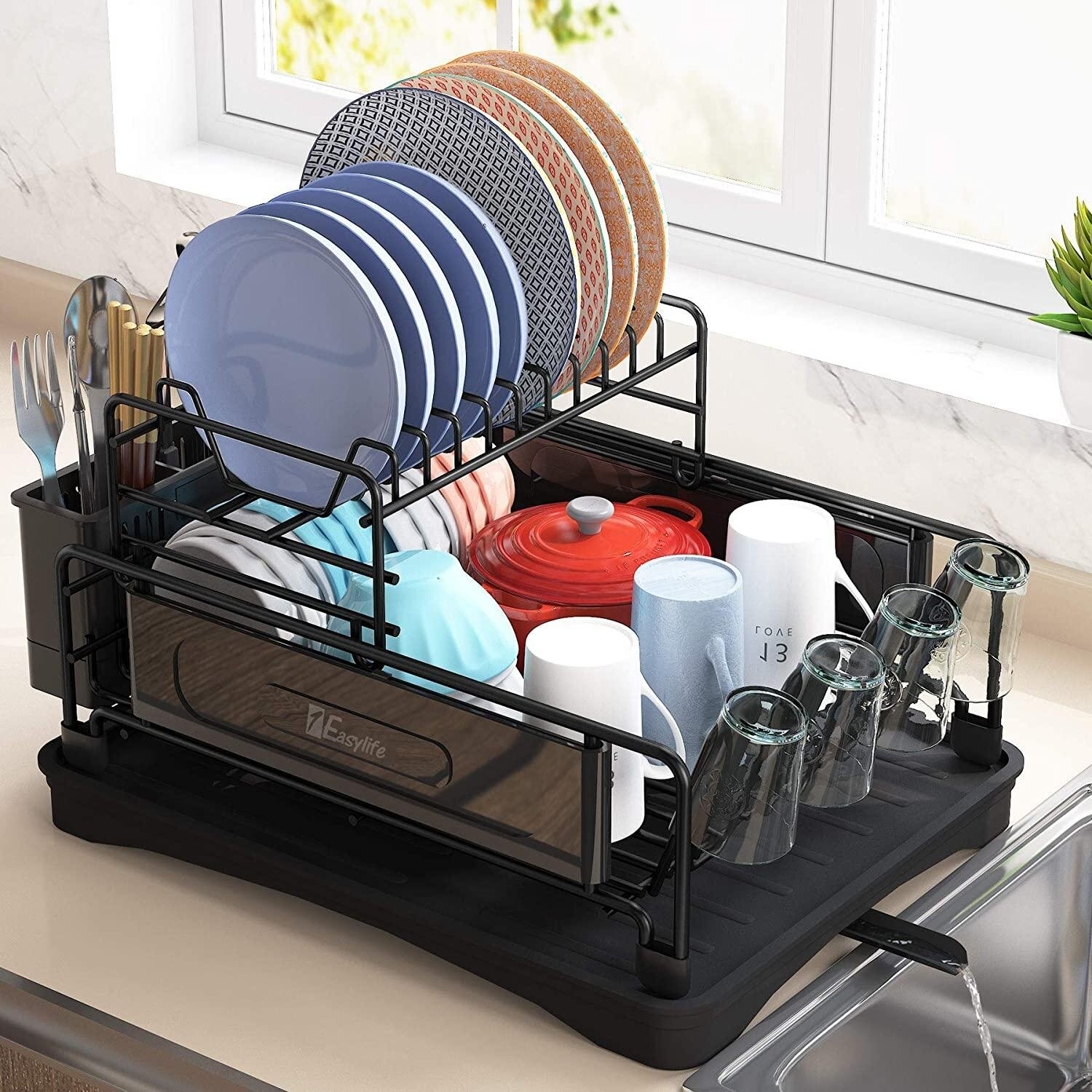 Treasurecabinet Dish Drying Rack 2 Tier Compact Kitchen Dish Rack Drainboard Set Large Rust Proof Steel Dish Drainer With Swivel Spout Utensil Holder Non Slip Cup Holder For Kitchen Counter Wayfair