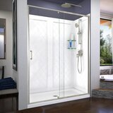 Semi-Frameless Shower Door 60 x 76.75 Rectangle Pivot Shower Enclosure with Base Included by DreamLine