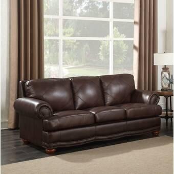 Terrific Williston Forge Buda Leather Sofa Reviews Wayfair Dailytribune Chair Design For Home Dailytribuneorg