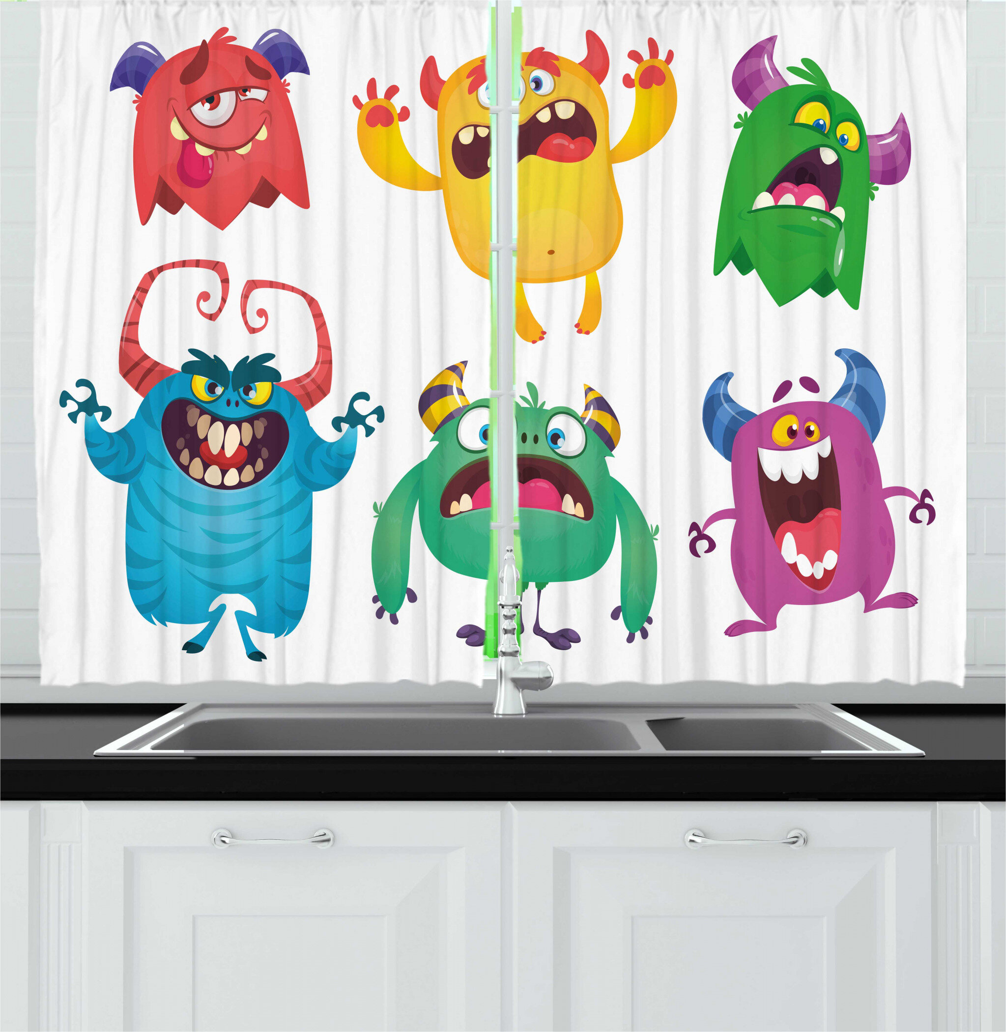 East Urban Home 2 Piece Alien Childish Print Of Funny Monsters Making Whimsical Faces Cartoon On Plain Background Kitchen Curtain Set Wayfair