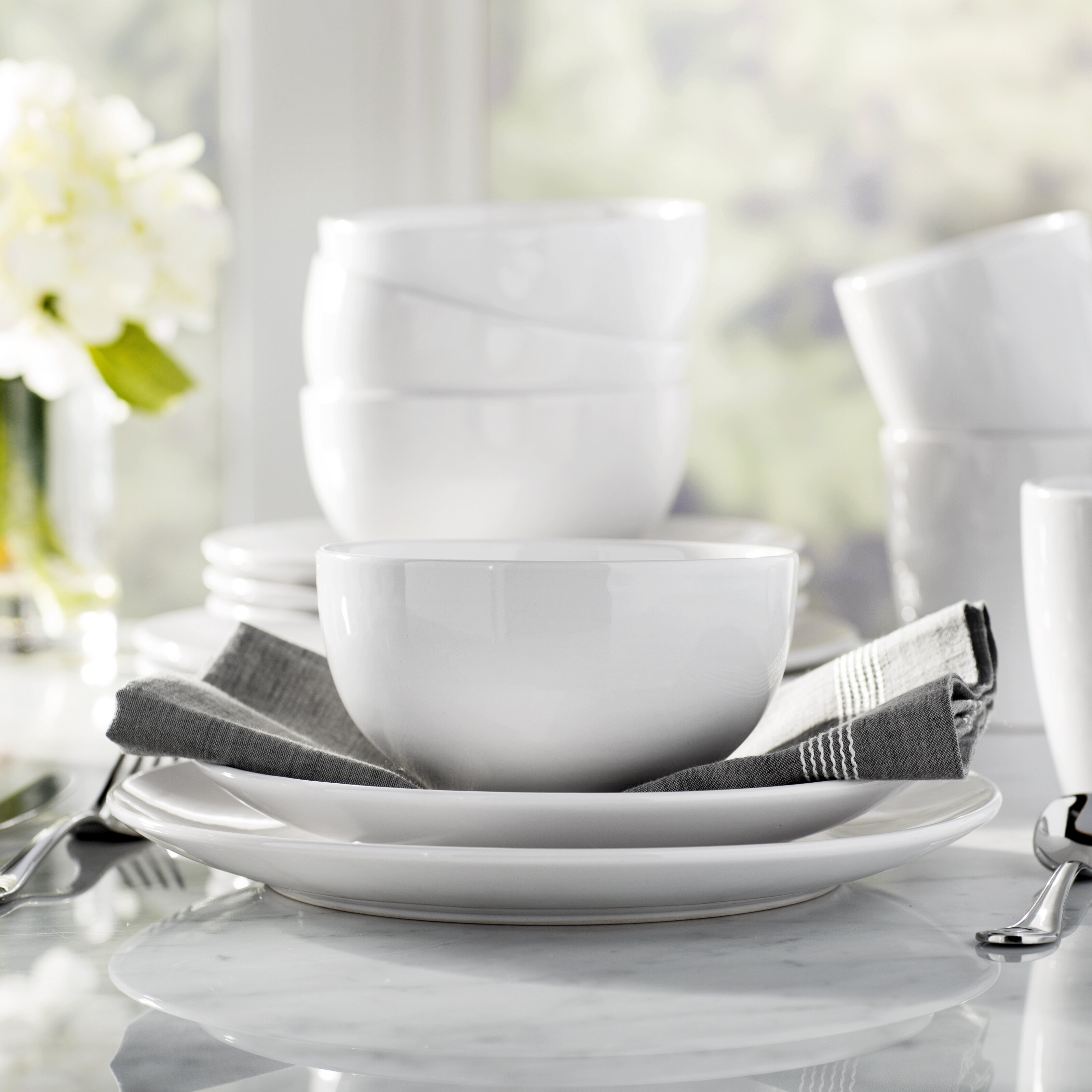 Wayfair Basics™ Wayfair Basics 12 Piece Stoneware Dinnerware Set Service for 4 u0026 Reviews | Wayfair & Wayfair Basics™ Wayfair Basics 12 Piece Stoneware Dinnerware Set ...
