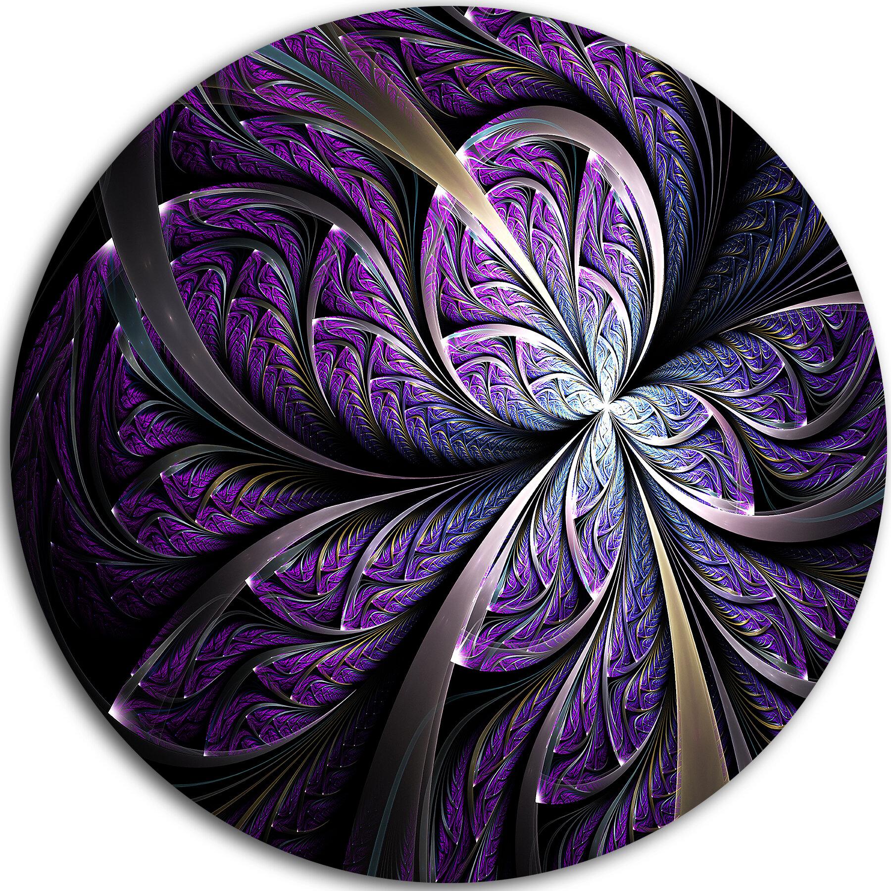 Ebern Designs Glittering Purple Fractal Flower Graphic Art Print On Metal Reviews Wayfair