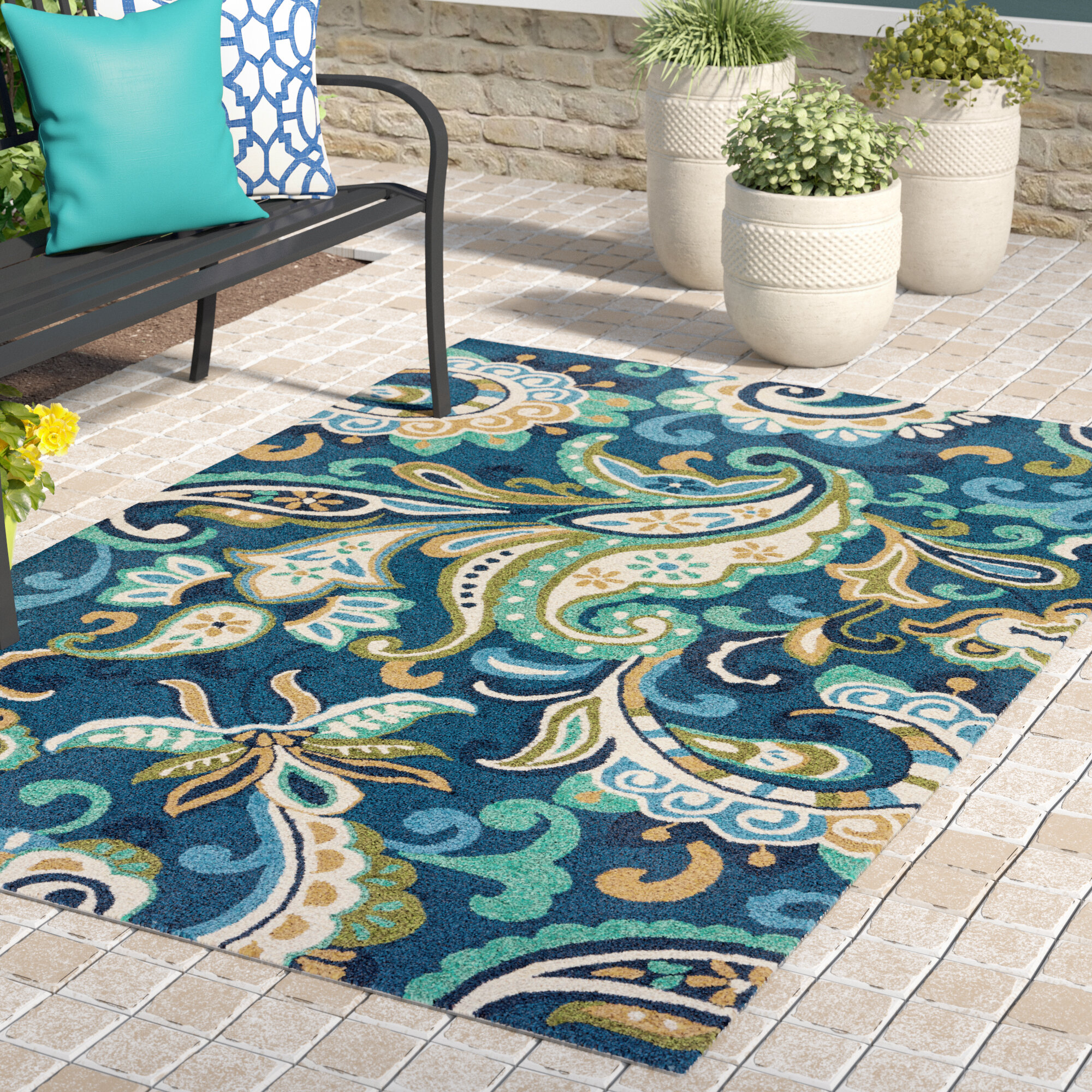 Breann Blue Indoor Outdoor Area Rug Reviews Joss Main