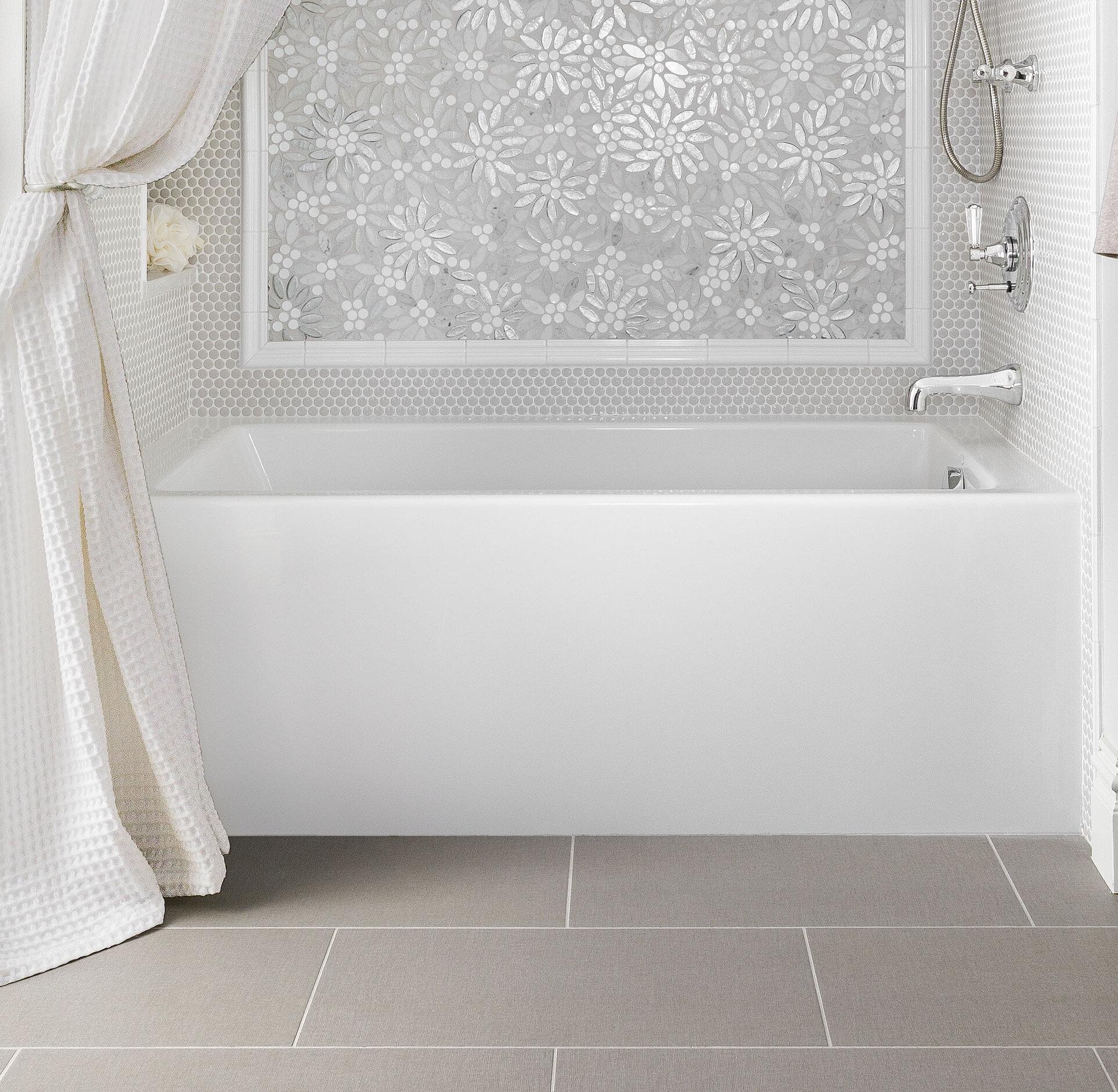 designer 72 x 32 alcove soaking acrylic bathtub
