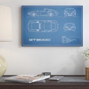 'Toyota 2000GT' Graphic Art Print on Canvas in Blue ByEast Urban Home