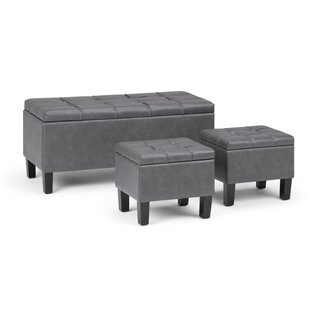Washington Mews 3 Piece Upholstered Storage Bench by Red Barrel Studio