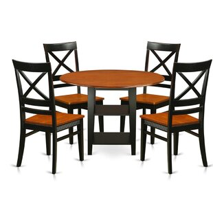 Tyshawn 5 Piece Drop Leaf Breakfast Nook Solid Wood Dining Set