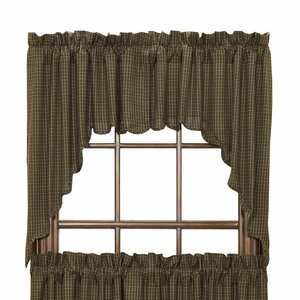 Millicent Plaid Scalloped Swag Curtain Valance (Set of 2)