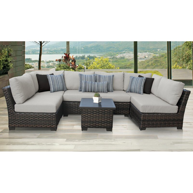 Tk Classics River Brook 7 Piece Outdoor Wicker Patio Furniture Set