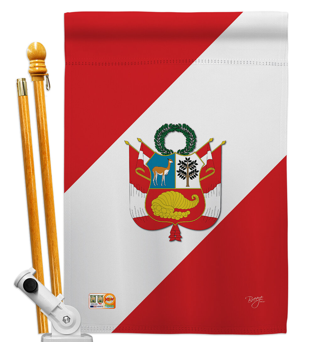 Breeze Decor Peru Flags Of The World Nationality Impressions 2 Sided Polyester 40 X 28 In Flag Set Wayfair