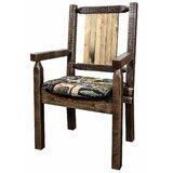 Abella Solid Wood Slat Back Arm Chair in Brown by Loon Peak®