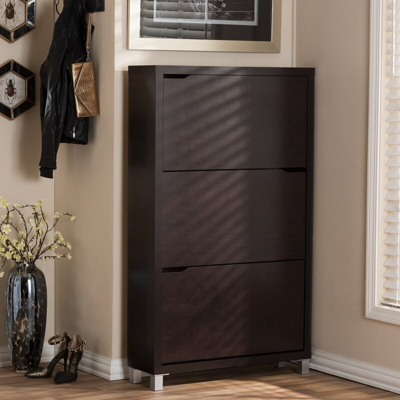 Awesome 18 Pair Wood Shoe Storage Cabinet