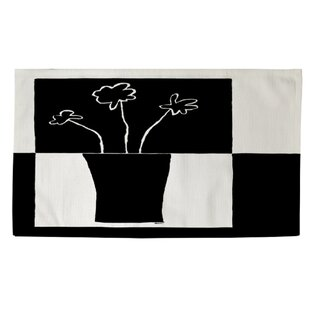 Coupon Minimalist Flower in Vase 2 Black/White Area Rug By Manual Woodworkers & Weavers