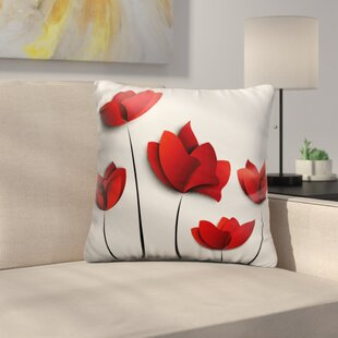 Bourque Red Poppies Throw Pillow