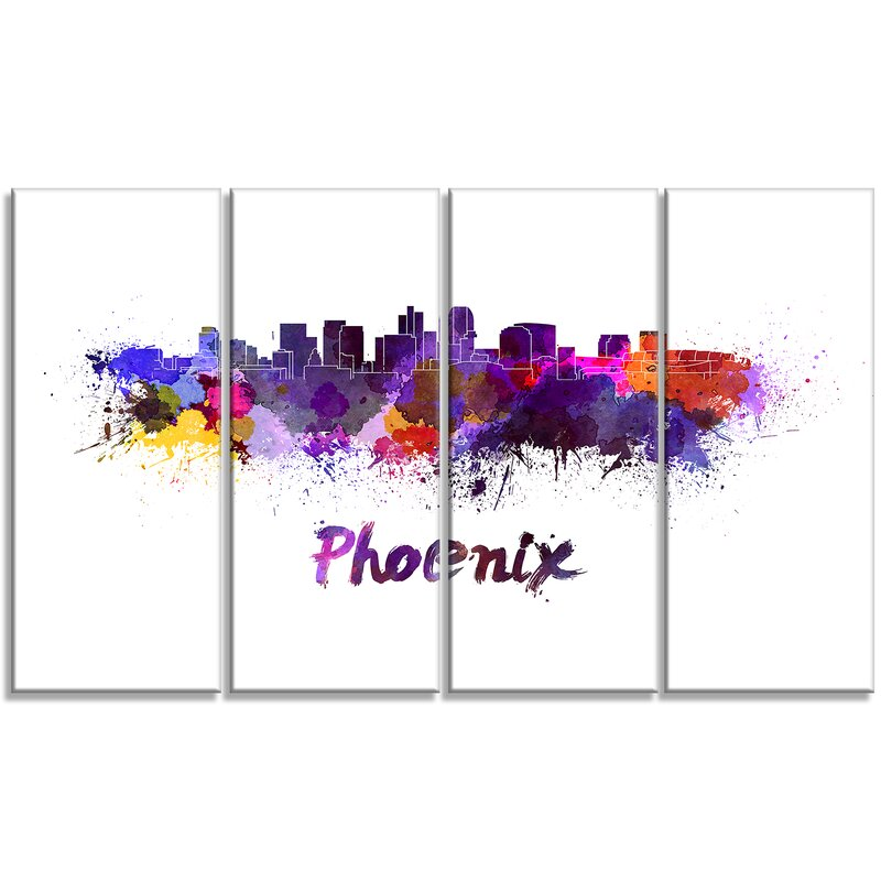 Designart Phoenix Skyline Cityscape 4 Piece Painting Print On Wrapped Canvas Set Wayfair