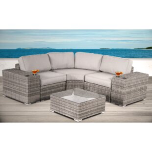 Hoyle 6 Piece Rattan Sectional Set with Cushions