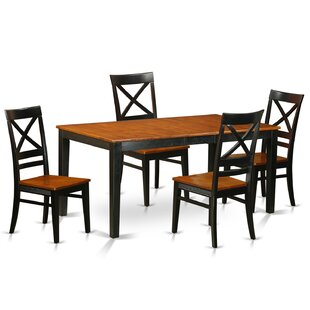 Pillar Traditional 5 Piece Dining Set with Rectangular Table Top August Grove