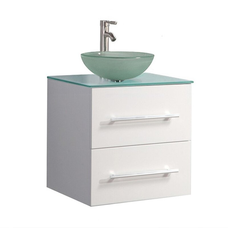 Prado 24 Single Sink Wall Mounted Bathroom Vanity Set With Mirror